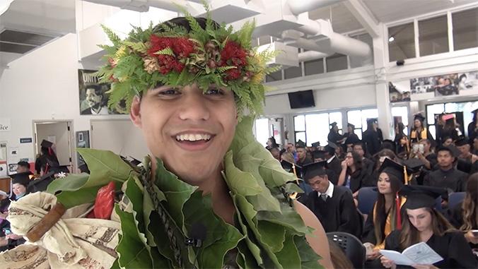Smiling U H Maui grad