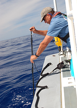 Adam Pack lowering a hydrophone into the ocean