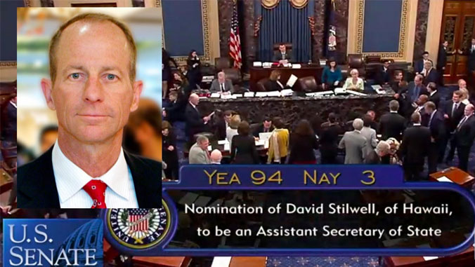 Headshot of David Stilwell superimposed on photo of U.S. Senate, with 94-3 vote to confirm superimposed