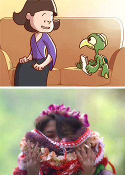 top image drawing of girl and creature bottom image girl covered in leis