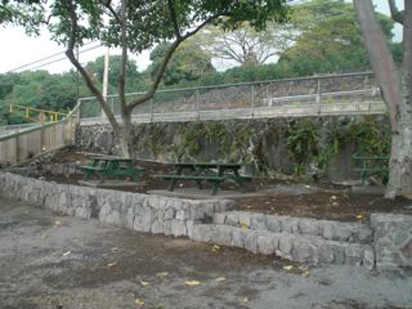 North picnic area ready for grass. Kopp credits Hanapaa Masonry for the beautiful rock wall and steps.