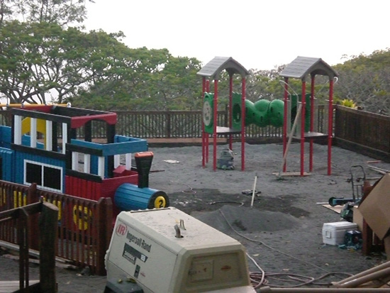 Kamakana Playground volunteers worked on the equipment over the weekend.  (Photo courtesy of Cliff Kopp)