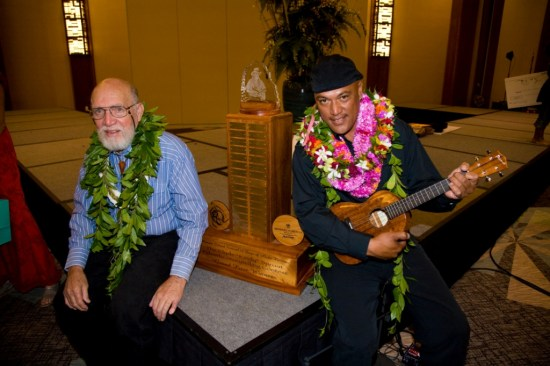 """The late Clyde """"Kindy"""" Sproat and 2008 winner Jeff Keanaaina."""