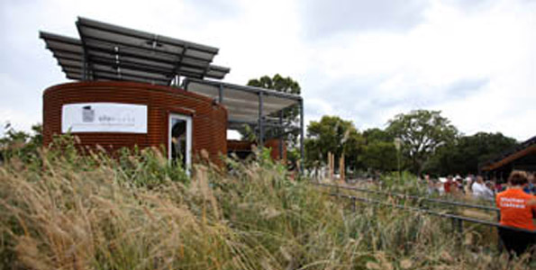 Hundreds of native plants form the landscape around Cornell University's solar-powered house during the U.S. Department of Energy Solar Decathlon on the National Mall in Washington, D.C., Saturday, Oct. 10. (Photo courtesy of Stefano Paltera/U.S. Department of Energy Solar Decathlon)