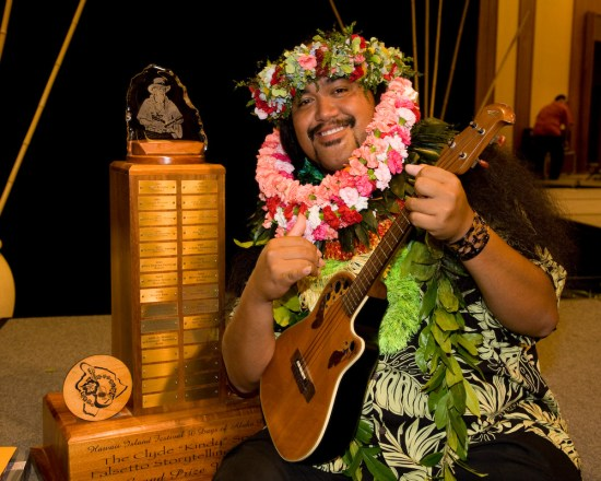 """Devin Kahale Alii Keanaaina won the 19th Annual Clyde """"Kindy"""" Sproat Falsetto Storytellng Contest at the Waikoloa Beach Marriott Friday. Photography by Michael Darden 