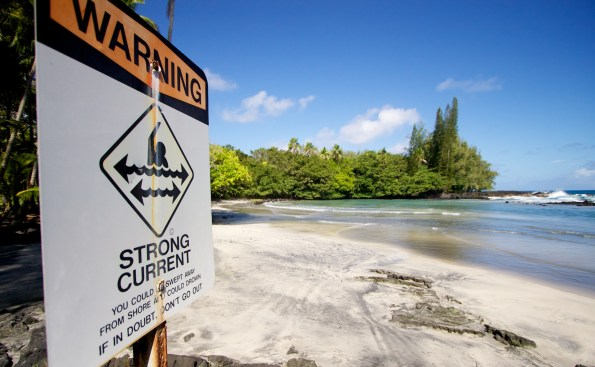 A warning sign at Keaau Beach (aka Shipman Beach). Hawaii 24/7 File Photo