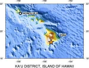 1868 Quake epicenter in Ka'u district.