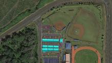 Rendering of a contingency site for Puna elementary school students displaced by the lava flow in the Keaau High School parking lot.