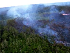 The front of the Kilauea June 27th Lava Flow Monday morning, October 13, 2014. Photo courtesy of Hawaii County Civil Defense
