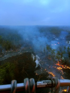 Thursday, November 20, 2014 Hawaii County Civil Defense overflight of the Kilauea June 27th Lava Flow upslope breakout at 6:45 a.m.