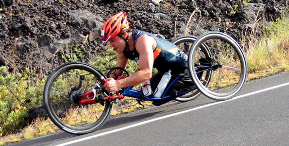 Andre Kajlich became the first hand-cycle athlete to finish Ultraman World Championships. (Hawaii 24/7 photo courtesy of Nadine Fischer | www.nadinefischer.com)