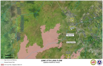 Kilauea June 27 Lava Flow map updated 7 a.m., March 16, 2015. Courtesy of Hawaii County Civil Defense