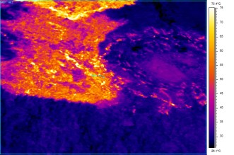 This infrared view of the north flank of Pu'u 'O'o vent shows that the flow is still quite hot and the tube location is possibly obscured although the few hotter strands may be indicators of the tube's location. Photo taken Tuesday, March 17, 2015 courtesy of USGS/HVO