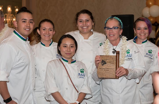 UHMaui College won the morning community college culinary competition led by Chef Instructor Teresa Shurilla (with plaque). Students from left are Devin Galloway, Noelle Bender, Yi Song, Taylor McGraw and Clarissa Logsdon. (Photo courtesy of Shiortini Photography)