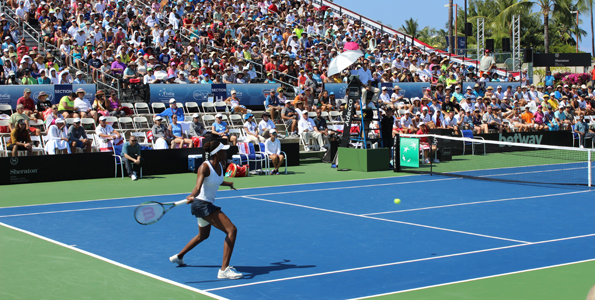 A sold-out crowd of 2,004 watched as Venus Williams led the USA to a 2-0 lead at Holua Tennis Center. (Hawaii 24/7 photo by Karin Stanton)