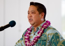 Frank Okimoto, Vice President of Nan, Inc, the general contractor for the project, during the dedication ceremony of the new Hilo International Airport Aircraft Rescue and Firefighting Station Friday, July 29, 2016.