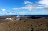 At the summit of Kīlauea, the weather cleared, but inflation turned to deflation and the lava lake level dropped, so the spattering that had been visible from overlooks in Hawaiʻi Volcanoes National Park the past two days is no longer visible today. But, it was a beautiful day to view Halemaʻumaʻu Crater from the Jaggar Museum Overlook! Although the lava lake surface was 32 m (105 ft) below the vent rim this morning, it's still likely that an orange glow from incandescent lava deep within the summit vent will be visible after dark. Photo taken Thursday, August 25, 2016 courtesy of USGS/HVO