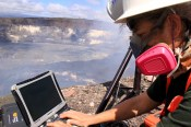 HVO's geochemist uses a Fourier Transform Infrared Spectrometer (FTIR) instrument to track volcanic gases emitted from the lava lake with Halemaʻumaʻu Crater. These measurements help detect changes in gas composition, which can provide insight into the inner workings of Kīlauea Volcano. Photo taken Sunday, February 12, 2017 courtesy of USGS/HVO