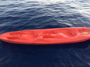 The Coast Guard is seeking the public's help identifying the owner of an unmanned, red kayak found approximately one mile off Ellison Onizuka Kona International Airport at Keāhole, on the west side of Hawaii Island, Thursday, April 20, 2017. Photo courtesy USCG