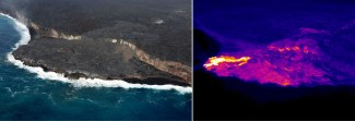The ocean entry at the Kamokuna lava delta was active today, with a small and wispy steam plume. The ocean entry was being fed by a surface flow on the delta, which is clearly seen in the thermal image (right) as a bright yellow color. The thermal image also shows heat signatures from parallel cracks in the delta that were covered by lava flows during the past several months. Based on today's overflight, the delta is roughly 4 ha (10 acres) in size. The nearest surface flows on the coastal plain are about 1.4 km (0.9 miles) from the emergency road. Photos taken Wednesday, November 1, 2017 courtesy of USGS/HVO