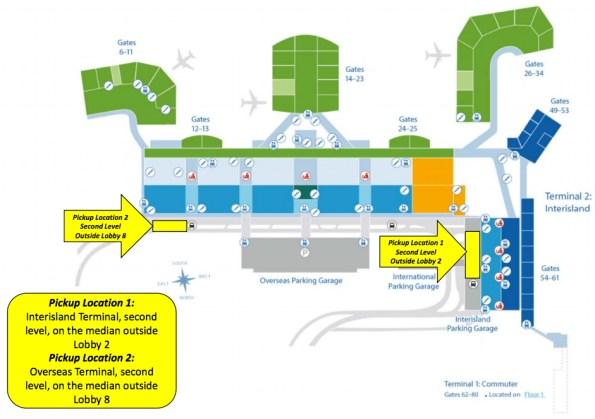 Lyft and Uber pickup locations at Daniel K. Inouye International Airport.