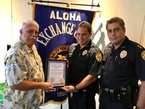 (L-R) Retired Captain James Sanborn, Officer Murray Toledo, AC Mitchell Kanehailua