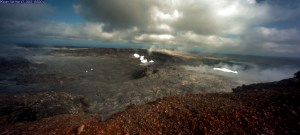 This photo of Pu'u 'Ō'ō from HVO's webcam (POcam) on March 17 is overlain by a composite image (multiple webcam images captured overnight) in which areas of active lava appear bright white in color. Since March 22, spattering has been intermittently visible from the lava pond contained within the west pit (right). In the main Pu'u 'Ō'ō crater (left), a small lava flow began erupting onto the crater floor last night and remains active as of this afternoon (March 26). Photo taken Monday, March 26, 2018 courtesy of U.S. Geological Survey
