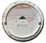 Location of model number and date code on back of smoke alarm