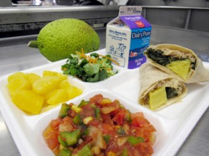 Locally grown breadfruit ('ulu) will be served in a tortilla with kalua pork and spinach in school cafeterias statewide. Photo courtesy HDOE