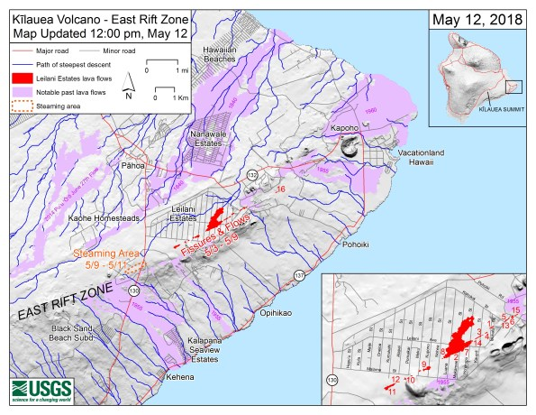 Main map shows the location of fissure 16, as well as earlier fissures, lava flows, and steaming areas, as of 12:00 p.m. HST, May 12. Inset map shows fissures in Leilani Estates in the order they occurred since May 3. Shaded purple areas indicate lava flows erupted in 1840, 1955, 1960, and 2014-2015.