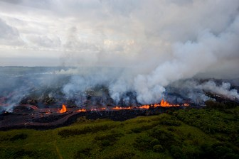 Lava fountains from Fissure 20 in Kīlauea Volcano's lower East Rift Zone. Photo taken May 19, 2018, at 7:37 AM, HST. Photo taken Saturday, May 19, 2018 courtesy of U.S. Geological Survey