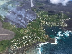 The front of the lava flow burns through Kapoho Sunday afternoon, June 3, 2018. Photo courtesy of U.S. Geological Survey