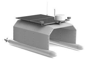 This rendering shows the unmanned and autonomous marine vehicle prototype that Tridentis AMV is developing for the National Oceanographic and Atmospheric Agency. NOAA will use the marine vehicles to test water quality and monitor endangered coral reefs. (Photo courtesy Tridentis AMV)