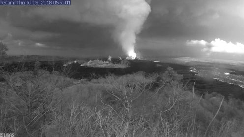 This image is from a temporary research camera positioned near Kapoho looking southwest. From left to right, one can see the eruptive fissures, with Fissure 15 on the far left, and Fissure 8 near the center.Webcam image taken Thursday, July 5, 2018 courtesy of U.S. Geological Survey