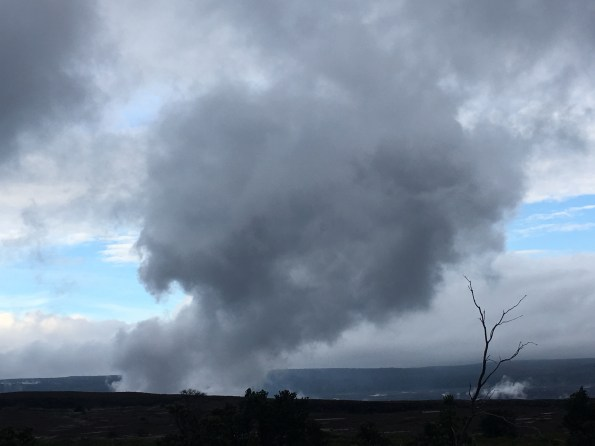 Sulfur dioxide and hydrogen sulfide gases themselves are not visible, but dramatic plumes are sometimes visible at Kīlauea Volcano's summit (shown here) and Puʻu ʻŌʻō. These plumes are a result of atmospheric conditions rather than increased volcanic activity, and frequently occur when warm volcanic gases condense as they are released into cooler air temperatures of early mornings or evenings. USGS photo.