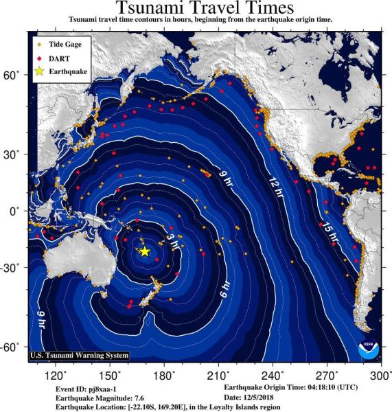 Potential travel time for a tsunami had one been generated on Tuesday, December 4, 2018.