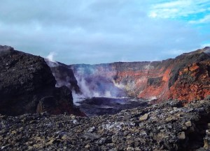 View into fissure 8 cone after lava drained away. USGS webcam image from November 4, 2018.