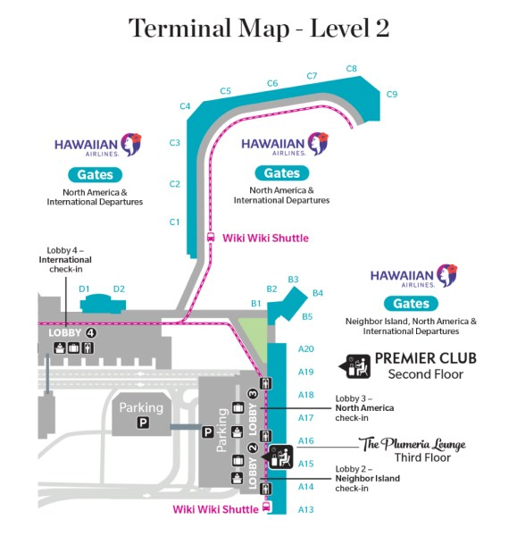 Map of Hawaiian's new HNL lobby operations.