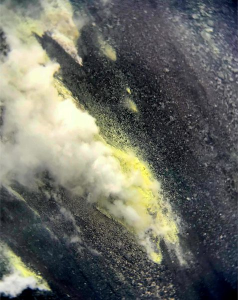 Telephoto zoom of the largest sulfur deposit forming on the NE talus wall in Halema'uma'u. The view is from the USGS Hawaiian Volcano Observatory's K3cam. Images can be viewed on HVO's website at https://volcanoes.usgs.gov/observatories/hvo/webcam.html?webcam=K3cam. Photo taken Wednesday, March 13, 2019 courtesy of U.S. Geological Survey