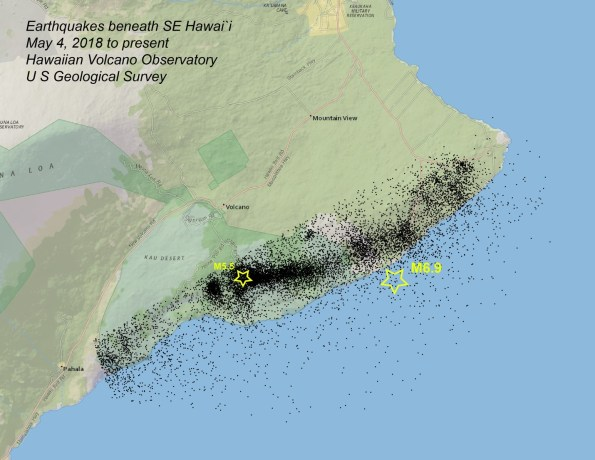 Map of selected earthquakes beneath a portion of southeast Hawai`i from May 4, 2018 to March 14, 2019, showing principally aftershocks following May 4, 2018 M6.9 earthquake. Black dots indicate epicenters of 13,083 earthquakes located during this time interval; yellow stars show locations of the M6.9 earthquake and the March 13, 2019 M5.5 earthquake. Data source: U S Geological Survey, Hawaiian Volcano Observatory.