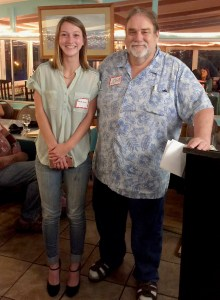 Madison Pratt, Montana State University student and winner of the Big Island Press Club Yukino Fukubori Scholarship in 2018, with BIPC President John Burnett.