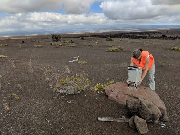 A closer view of a gravity reading at a station located in the south part of Kīlauea caldera. When repeated over time, gravity measurements can detect changes in subsurface mass that might not be detectable by other monitoring methods. Scientists track this data because the changes could be related to magma movement within the volcano. USGS photo by M. Poland, 03/20/2019.