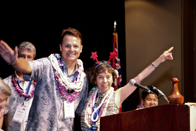 Democratic Party of Hawai'i 2016 Chair Tim Vandeveer and outgoing Chair Stephanie Cambra Ohigashi.
