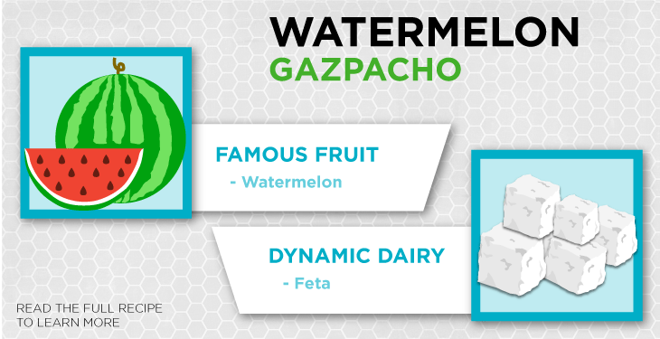 Watermelon packs almost 23 milligrams of vitamin C per serving, while feta is dairy, which is a great source of calcium.