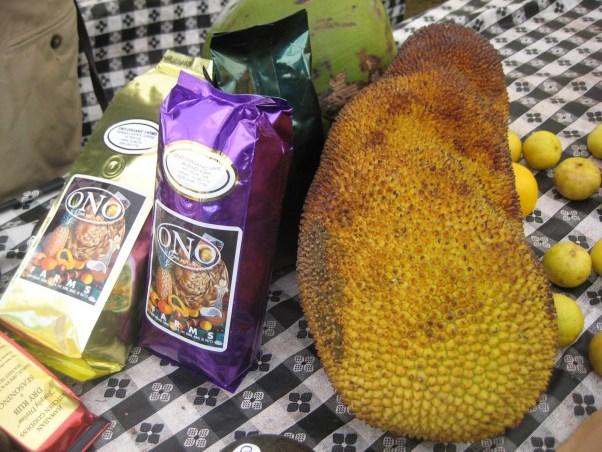 Maui Organic Farms - Jackfruit and coffee on a table for sale