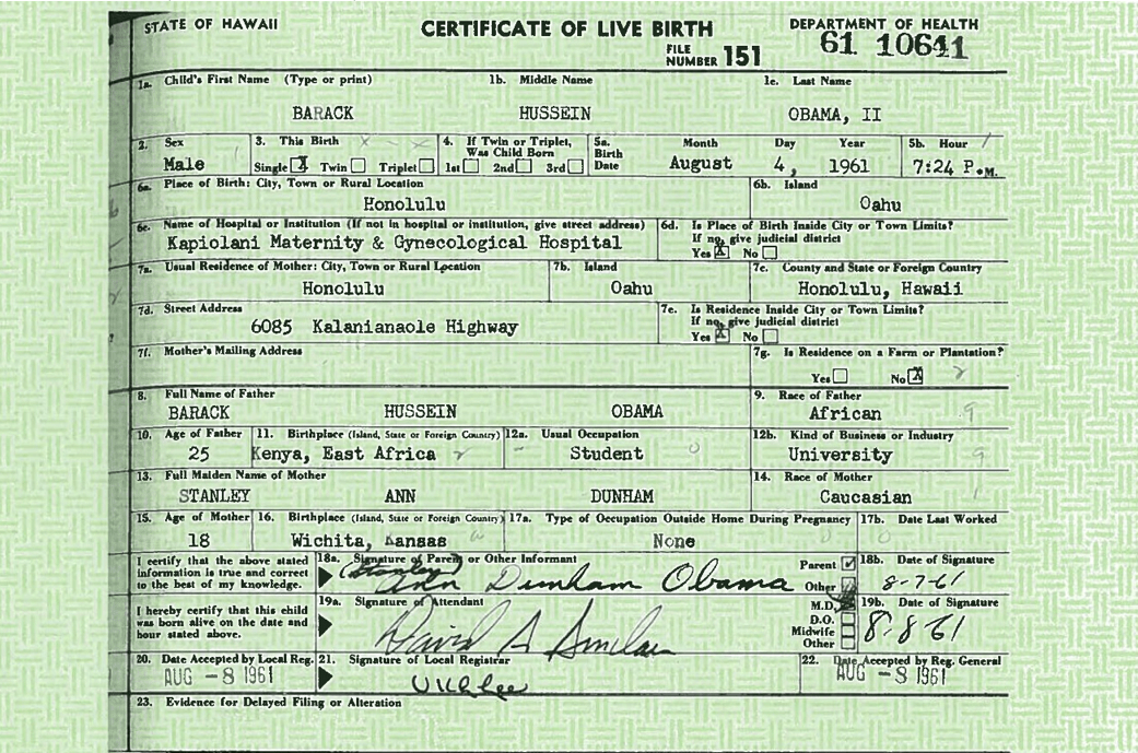 President Barack Obama Releases His Long Form Birth Certificate