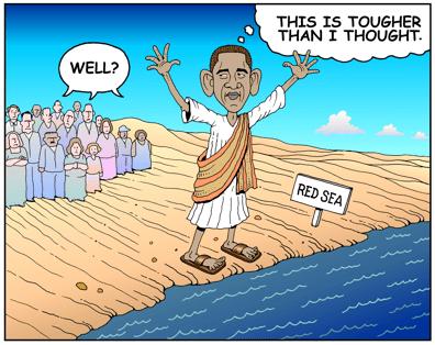 Barack Obama cartoon, Obama; job tougher than he thought
