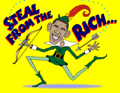 Obama as Robin Hood cartoon