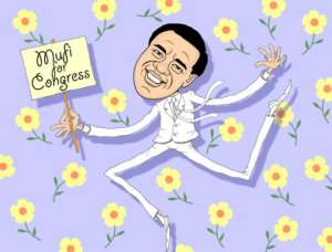 Mufi Hannemann cartoon, caricature, Mufi runs for congress, kinder, gentler
