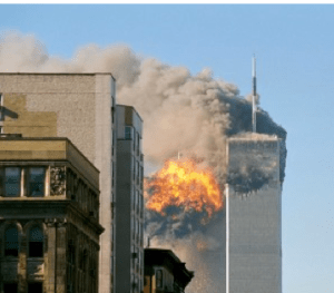 9-11 twin towers burn